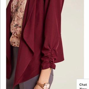 Mine maroon ruched sleeve polyester blazer worn 1x